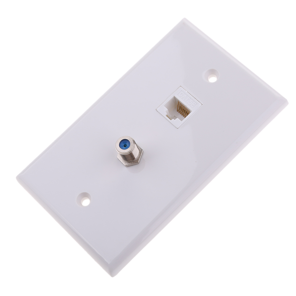 Dovewill Coaxial F Connector Ethernet Network RJ45 Jack Wall Plate Socket Outlet WHITE