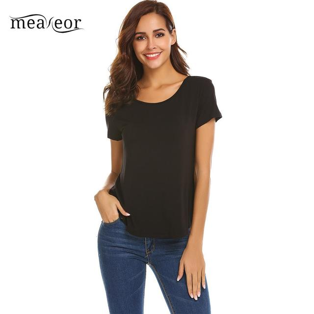 Meaneor Womens T-Shirts Tops Spring Summer Casual Breathable Solid O-Neck Short Sleeve Arc Hem Autumn Tshirt Pullovers