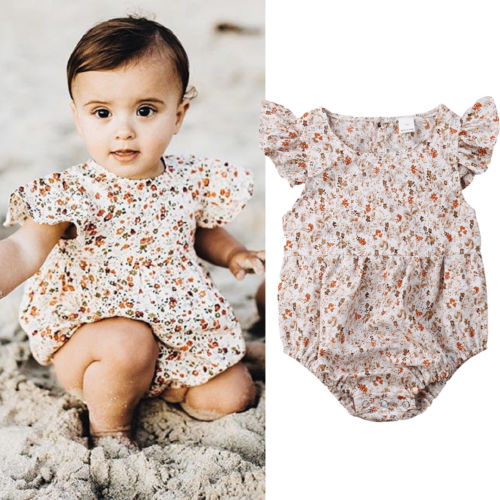 0-24M Lovely Newborn Kid Baby Girl Clothes Ruffle Sleeves Floral   Romper   Jumpsuit Sunsuit Clothes