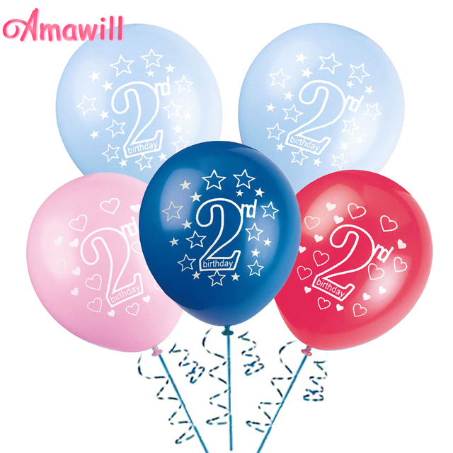 Amawill 10pcs Happy 2nd Birthday Printed Latex Balloons For Baby Shower Boy Girl 2 Years Old Party Decorations Kids 75D