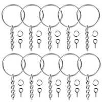 100Pcs Keychain Rings Jewelry With Chain And 100 Pcs Screw Eye Pins Bulk For Crafts