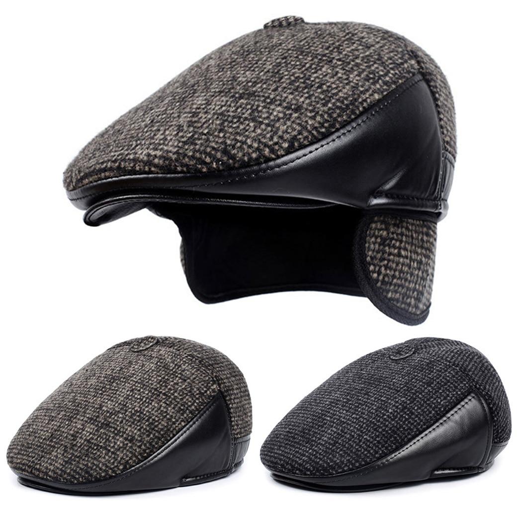 15d5489b4568b Los nuevos hombres de sombreros de invierno con orejeras Retro lana boina  plana 2019 de cuero clásico Baret a prueba de viento hombre papá sombreros  Boina