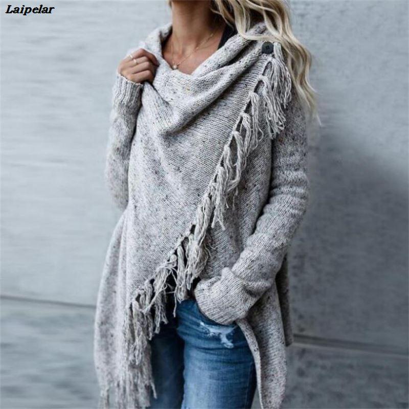 2019 New Hot Sale Women's Spring Autumn Women's Knitted Long Irregular Sweater Women Casual Tassel Cardigan Shawl Laipelar