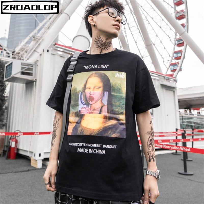 2019 Men Funny Mona Lisa Printed Short Sleeve T Shirts Streetwear 2019 Summer Harajuku Hip Hop Top Tees Fashion Male Tshirts mona lisa t shirts