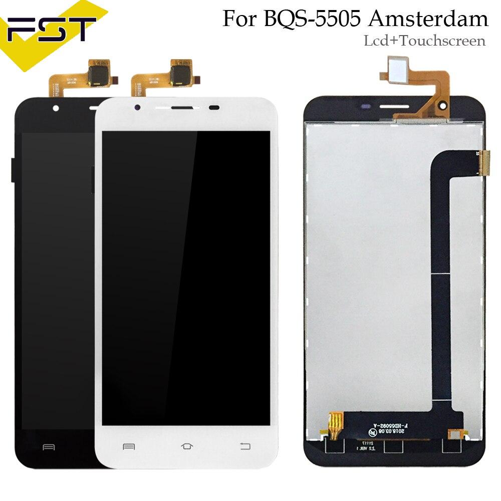 Para BQS-5505 Amsterdam BQ S 5505 BQS 5505 pantalla LCD + pantalla táctil digitalizador de pantalla táctil de la Asamblea de piezas de reparación + herramientas