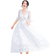 Fashion Summer Women Sexy Half Sleeve Lace Dress V-neck Hollow Out Whiter Beach Party Dresses Vestidos