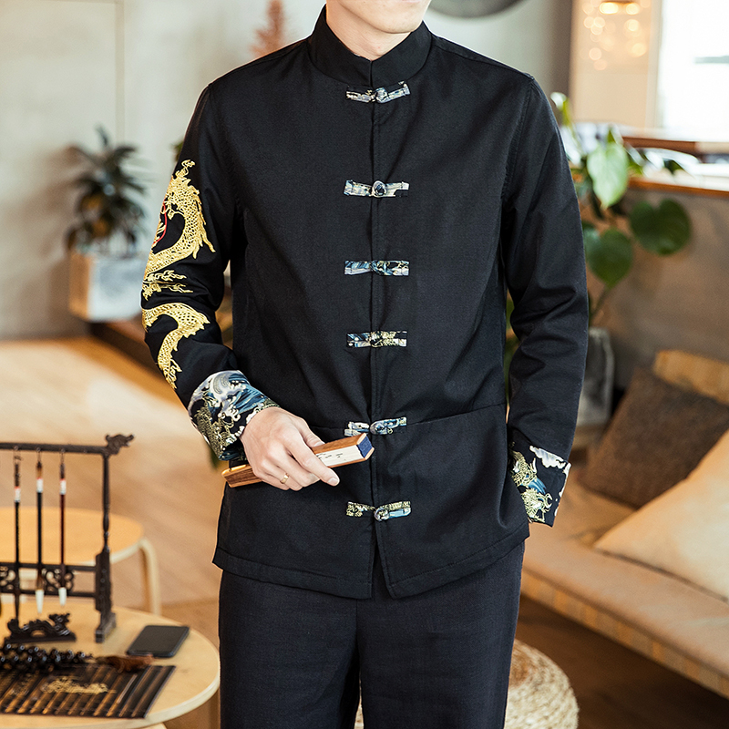 Spring Chinese Style Men Jacket Streetwear Chaqueta Hombre Costume Embroidered Dragon Jacket Cheongsam Embroidered Dragon