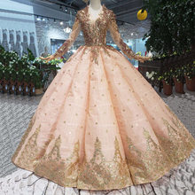 big pendulum v-neck custom peach long-sleeved wedding dress with gold lace luxury Wedding Gown Tassel Beads