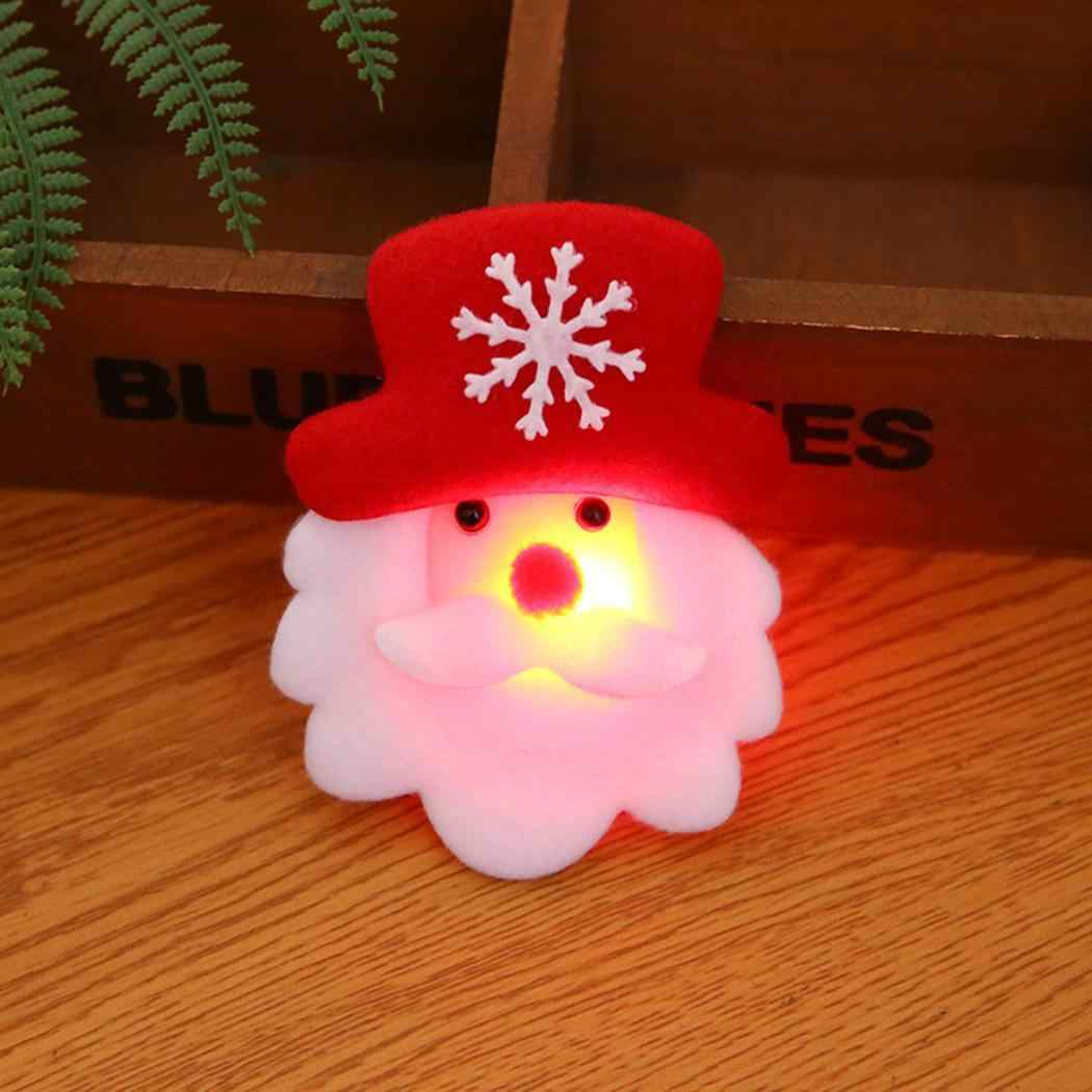 Muñeco de nieve LED encantador Pin rojo Multicolor brillante oso intermitente Navidad juguete regalo insignia dibujos animados Navidad broche Ciervo