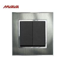 MVAVA 2 Gang 1 Way Push Button Lamp Wall Switch EU/UK Standard Luxury Metal Silver Panel Light Control 220V Free Shipping