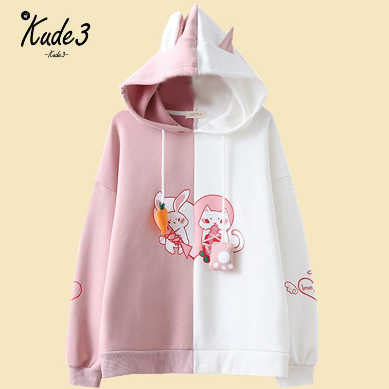 Kawaii Bunny Ear Women Hoodie Cute Rabbit Cat Lovely Sweatshirt Harajuku Soft Girls Anime Pink Pullover Tracksuit Outerwear 8446