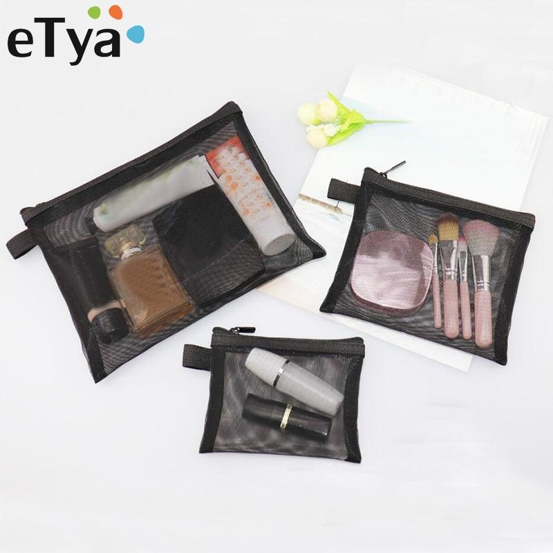 ETya Women Transparent Travel Cosmetic Bag Mesh Zipper Make Up Bag Makeup Organizer Toiletry Beauty Wash Kit Bag Case Pouch