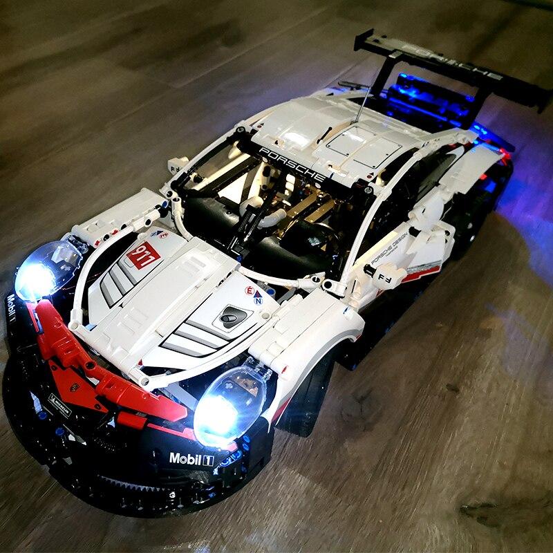 DHL en STOCK jeux techniques de Legoings kits d'allègement compatibles les 911 voitures de course Bugatti Playmobil blocs de construction