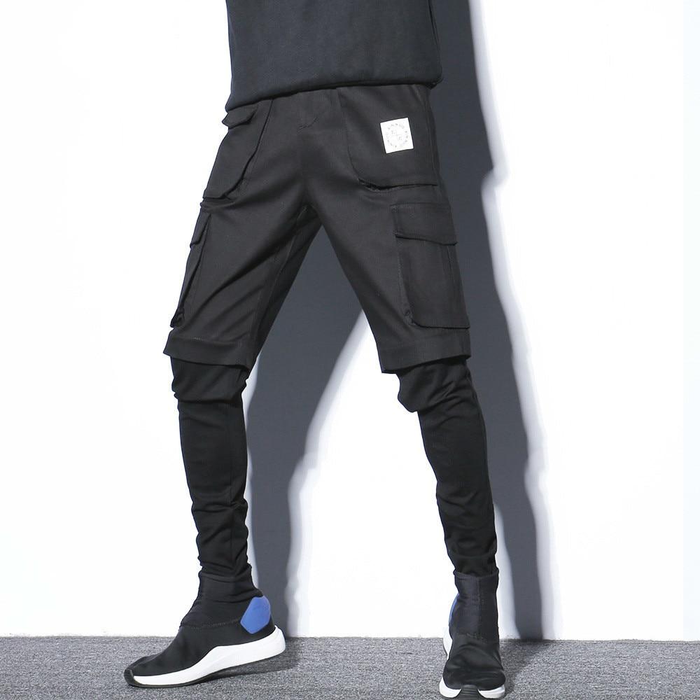 #2307 Schwarz Gefälschte Zwei Stück Hüfte Hüfte Harem Hosen Männer Jogger Mit Seite Taschen Schweiß Hosen Streetwear Dance Bleistift Cargo Hosen