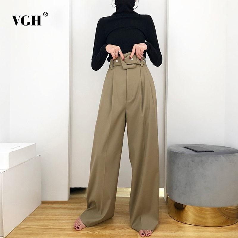 VGH Spring Women's   Wide     Leg     Pants   Solid High Waist Zipper Fly Sashes Pockets Slim Hem Women Fashion Clothing 2019 New