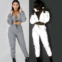 new casual Reflect Light two piece set top and pants women suits conjunto feminino clothes reflective fluorescent clothing night