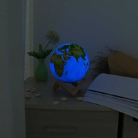 3D Earth Light Globe Moon Lamp With Wooden Base Stand LED Light Home Office Decoration Ornament Kid Children Birthday Gift