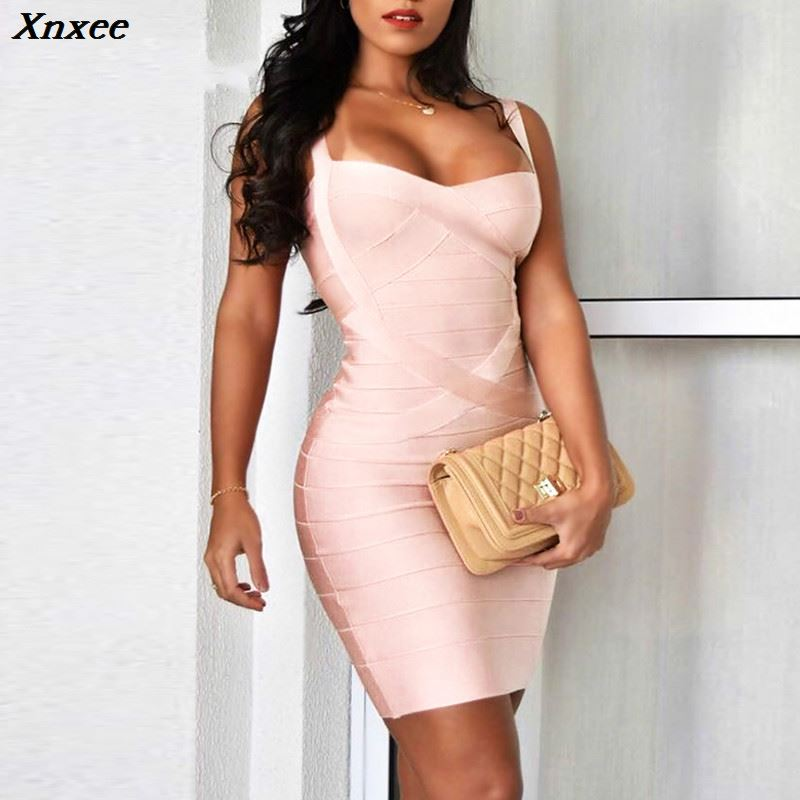 Xnxee 2019 Bandage Dress Sexy Mini Spaghetti Strap Bodycon Strapless Club Party Summer Lady Dresses Femme Vestidos Xnxee in Dresses from Women 39 s Clothing