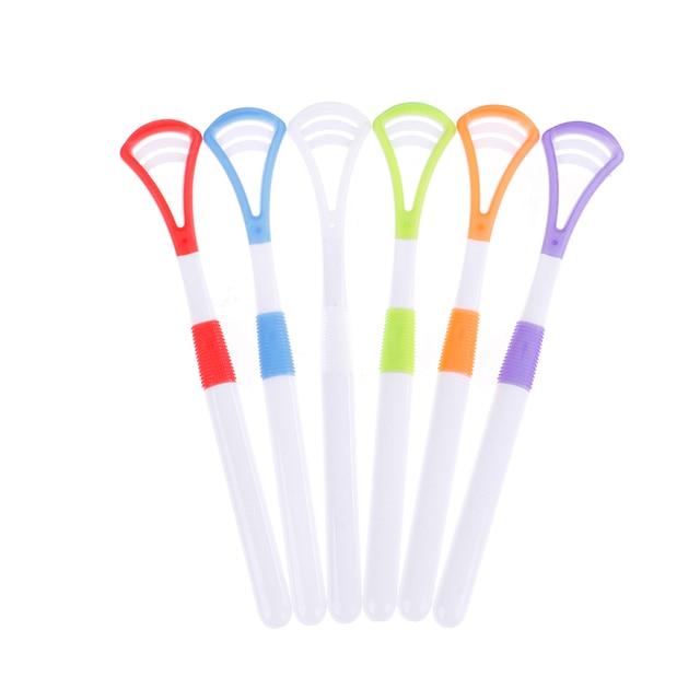 2 unids/lote plástico de alta calidad lengua limpiador raspador profesional higiene Oral boca Color al azar