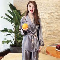 Long sleeve pajama long sleeve pantsuit thin style loose cardigan sexy home pajamas cover