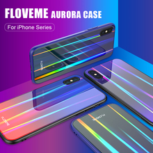 FLOVEME Aurora Case For iPhone XS Max XR Hard Back Cover Colorful Soft Edge Phone Shell 7 8 Plus X Cases Funda