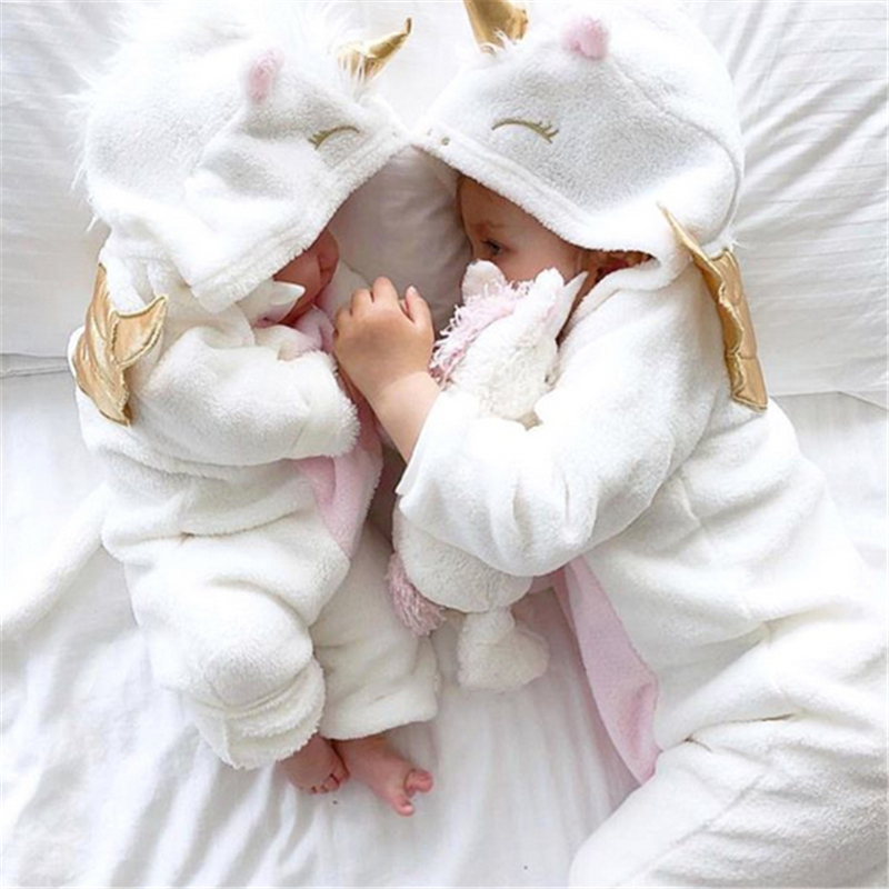 2019 New Autumn Winter Newborn Baby Girl Clothes Cute 3D Unicorn Flannel Long Sleeve Zipper Warm   Romper   Jumpsuit Outfit Clothes
