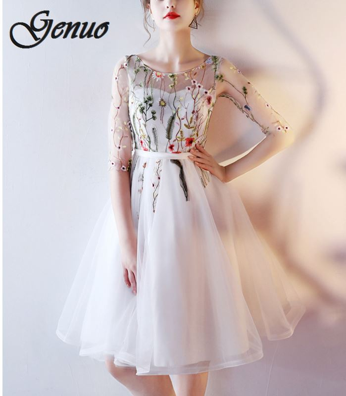 Genuo Women Ivory Short Dresses 2019 Sexy Black Sunmer Dress Scoop Tulle Embroidery Lace Up Party