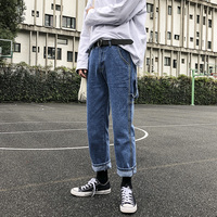 2018 Autumn And Winter New Thick Jeans Simple Loose Overalls Neutral Boys Boyfriend Retro Korean Wind Blue / Black S 2XL