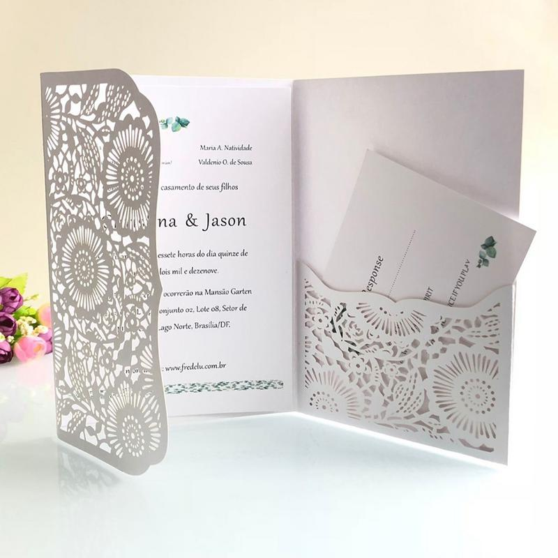 Wedding Invitations Business: 10pcs Laser Cut European Style Tri Fold Lace Business