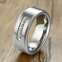 Bling AAA CZ Stone Engagement Rings for Men 8mm Silver Color Tungsten Wedding Band Matte Polished Male Gifts