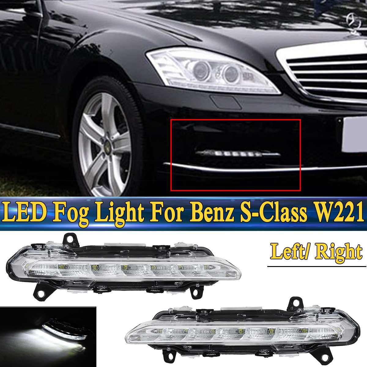 For <font><b>Mercedes</b></font>-<font><b>Benz</b></font> S-Class W221 C250 <font><b>C300</b></font> C350 CL550 For AMG CLS550 R350 LED DRL Daytime Running Light Fog Lamp image