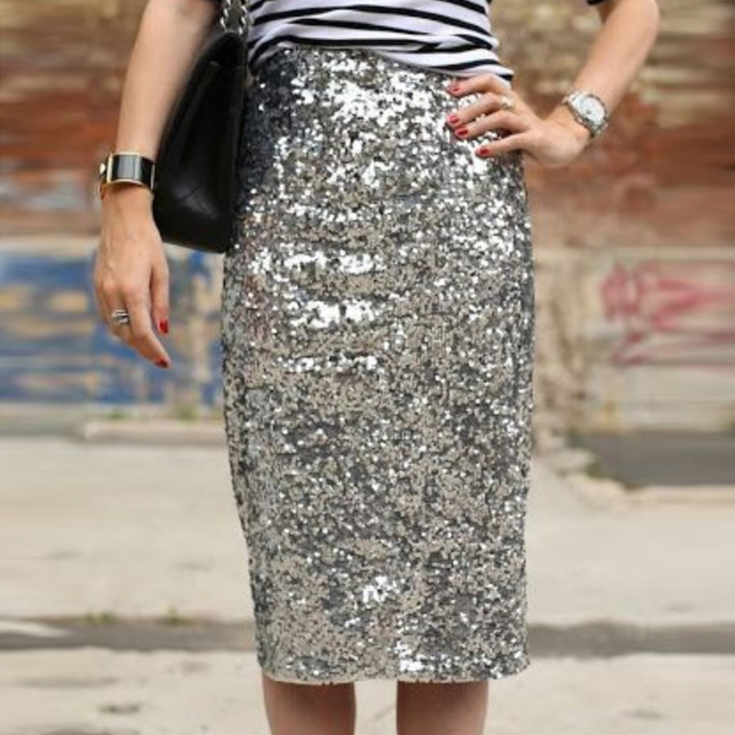 Women Sexy Shiny Sequin Skirt High Waist Glitter Gold Silver Stretchy Pencil Skirts Ladies Knee Length Party Club Midi Skirt