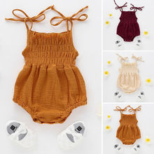 Toddler Baby Girls Strap Solid Linen Romper Halter Jumpsuit Ruffle Sleeveless Playsuit Infant Summer Outfits Clothes