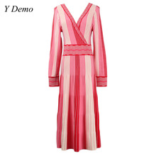 Casual Colorful Stripes Long Sleev V-neck Women Dress Spring Slim Knitting