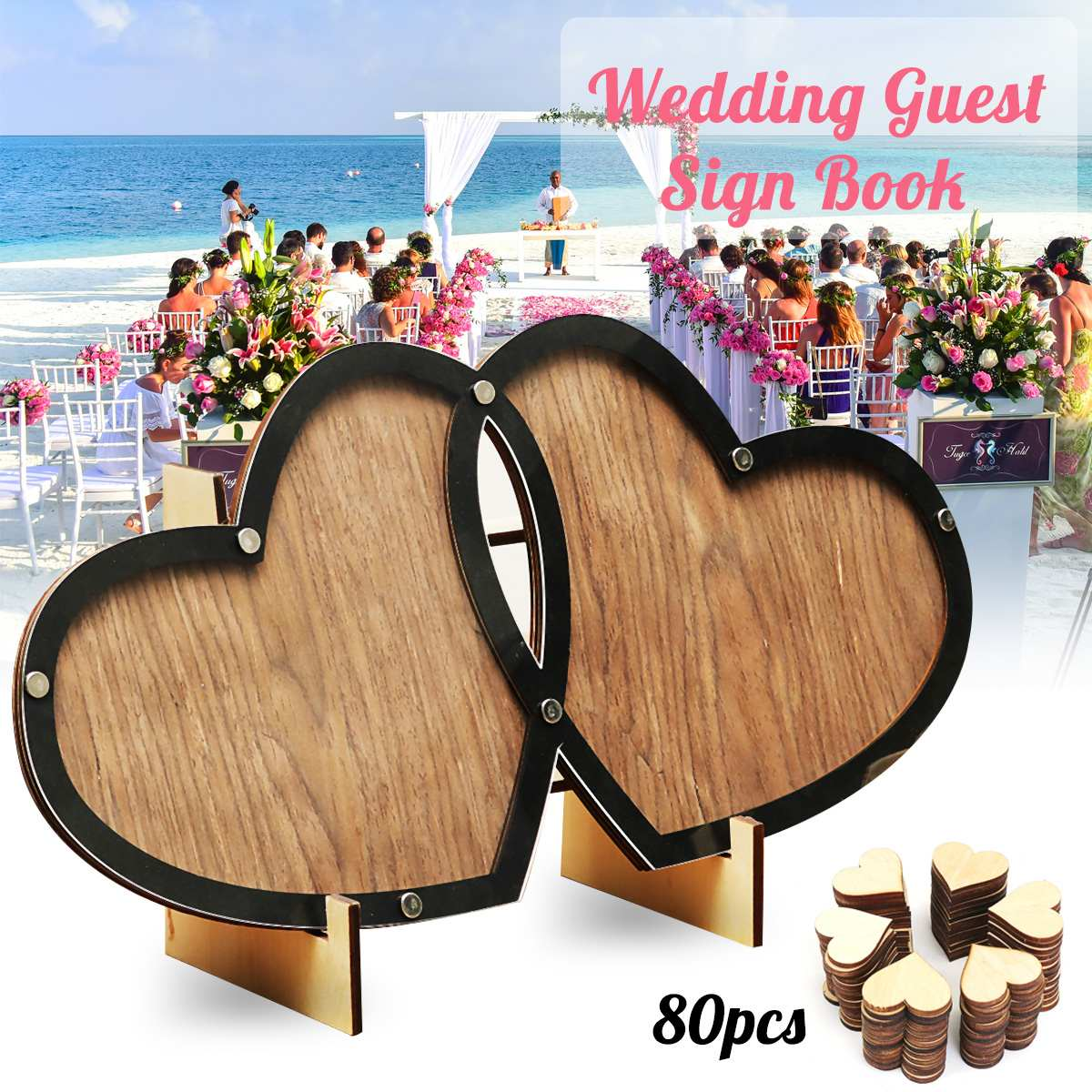Personalized Wooden Hearts Wood Wedding Guest Book Double Heart Memory Visit Sign Book Guestbook Party Decor Ornaments