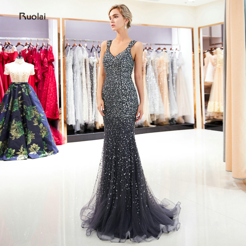 Luxury Mermaid   Evening     Dress   2019 Long Sleeveless   Evening   Gown Formal Party   Dress   See Through Back robe de soiree Real Sample