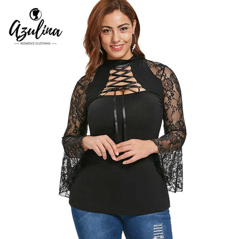 2a82783fa39 AZULINA Plus Size Lace Insert Cut Out T-Shirt Women High Collar Lace Up Long