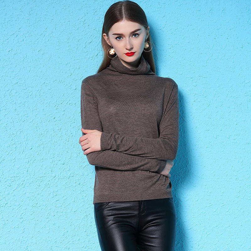 Women turtleneck collar tight wool blends sweater winter new style slimming bottoming pullover shirt nw18d3016