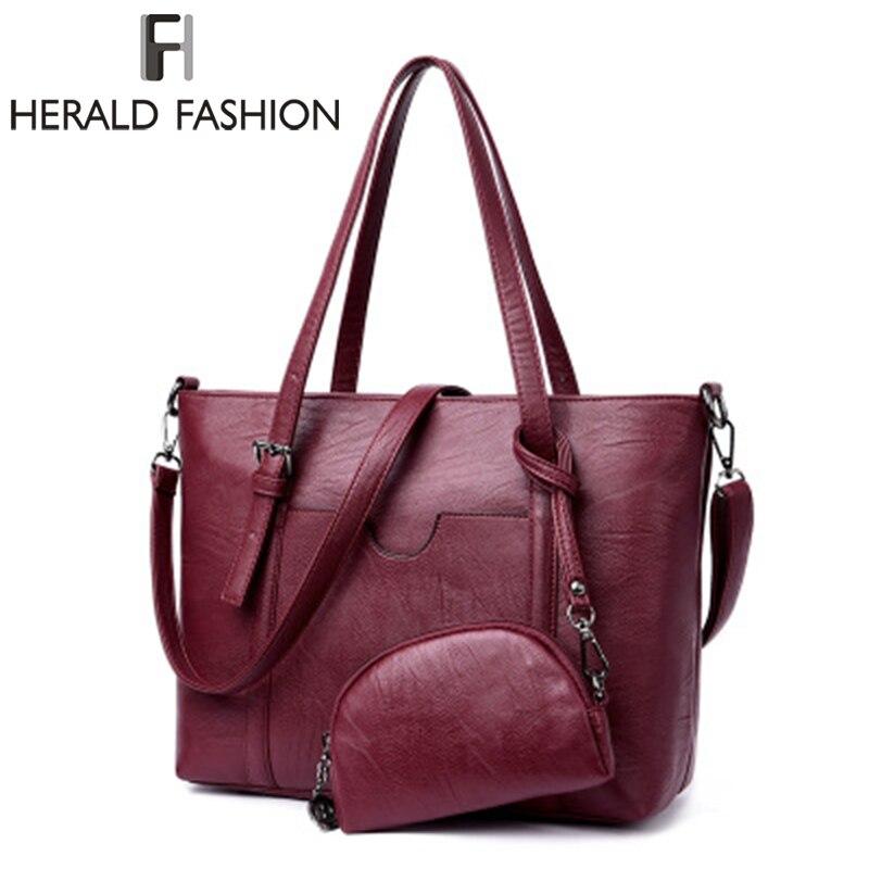 3739ff9849dd ... Топ-ручка Композитный сумка женская сумка · Herald Мода 2 комплект Для  женщин качество сумки кожаные женские сумки на ремне большой Ёмкость Топ