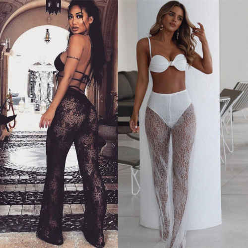 Women Lace See Through Wide Leg Long Beach Pants Lady Sexy High Waist Trousers Black/White Summer Holiday Mesh Perspective Pants