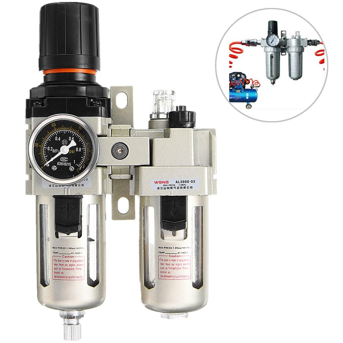 3/8 compresseur d'air lubrificateur d'huile humidité piège à eau filtre régulateur jauge en alliage d'aluminium pièces pneumatiques matériel mécanique - 4