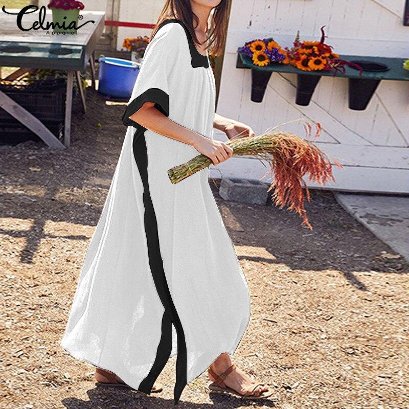 2019 женское длинное платье с рукавами «летучая мышь», Летнее белое черное платье-рубашка в стиле пэчворк, Повседневное платье свободного кро...