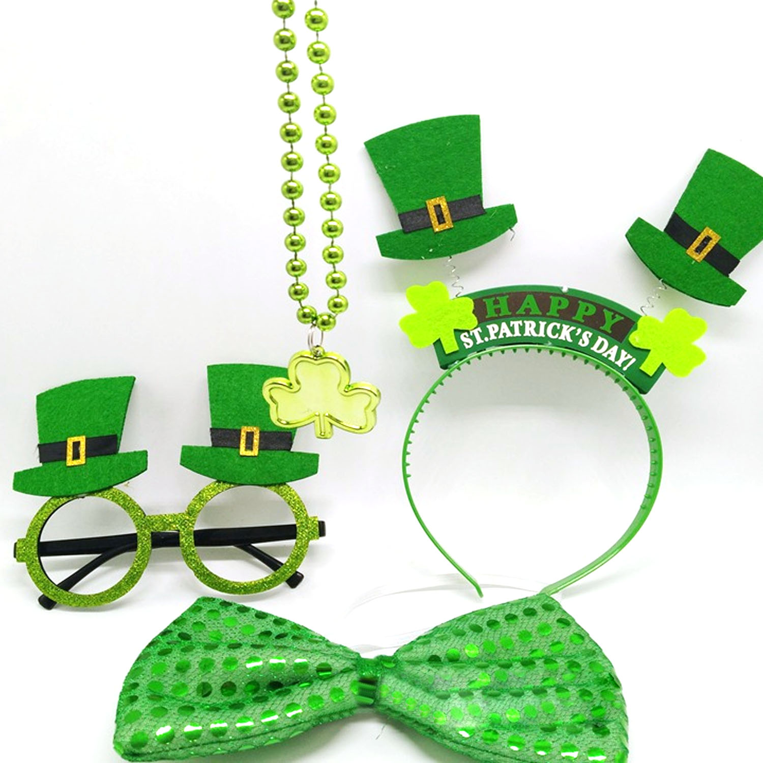 4pcs Irish Saint St Patricks Day Shamrock Lucky Charm Green Hair Hoop Necklace Glasses Sequin Bow Festival Costume Accessories