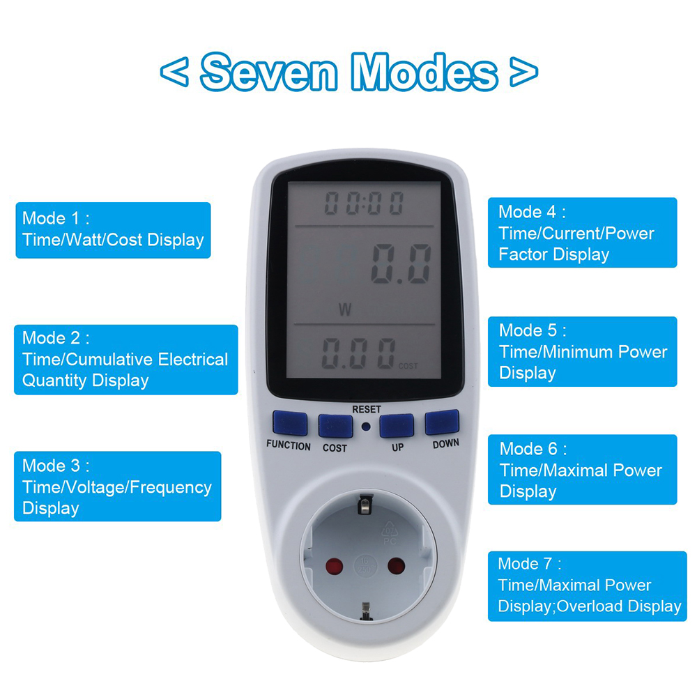 Розетка-измеритель напряжения 230v, Цифровой измеритель электроэнергии с дисплеем