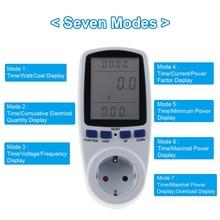 Medidor de energía ca con enchufe europeo, vatímetro Digital de 230v, medidor de energía de vatios, Monitor Analizador de electricidad