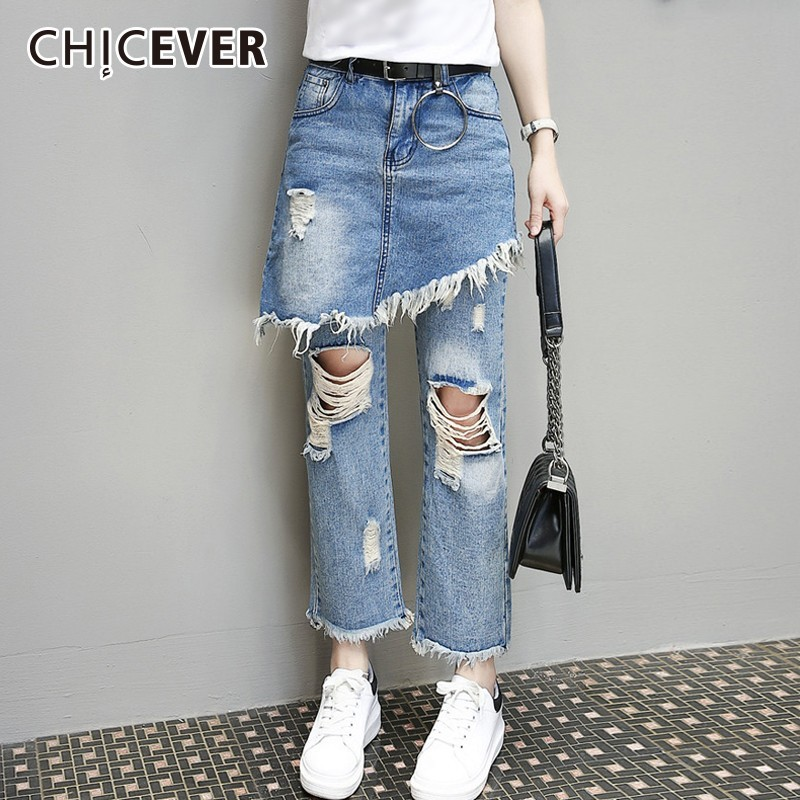 CHICEVER 2019 Spring Jeans For Women High Waist Loose Plus Size Hole Tassel Irregular Straight Pants Female Korean Fashion Tide