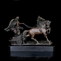 BRONZES Greek Mythology Bronze Sculpture Angel And Horses Statues Art Collection House Decoration