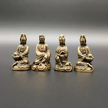 Small Statues Guan Yin Kwan-Yin Copper-Carved Chinese Bodhisattva Exquisite