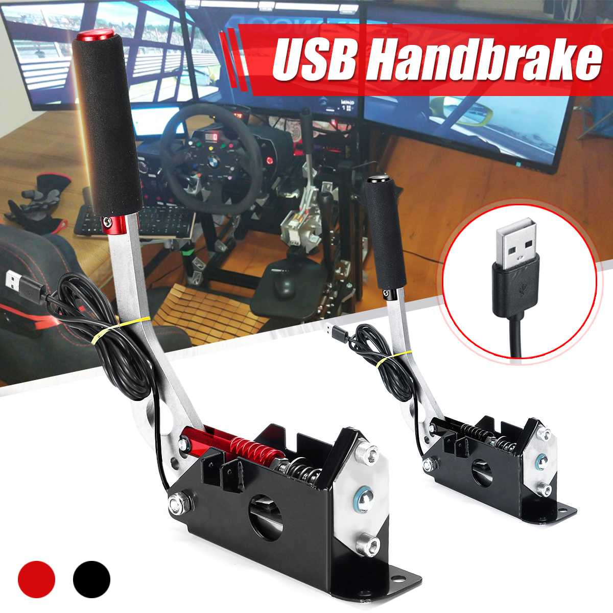 USB Handbrake Clamp PC Windows for Sim Racing Game for <font><b>Logitech</b></font> G25 G27 <font><b>G29</b></font> T500 T300 FANATECOSW for LFS DIRT RALLY image