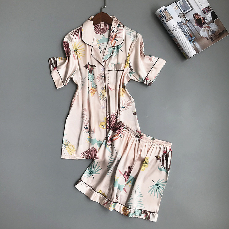 Summer Printing   Pajama     Set   Woman Ice Silk Short Sleeve Shorts Suit Sexy Pyjama Soft Breathable Sleepwear